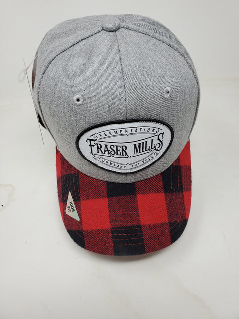 Kids Size Buffalo Plaid and Grey Adjustable Ball Cap