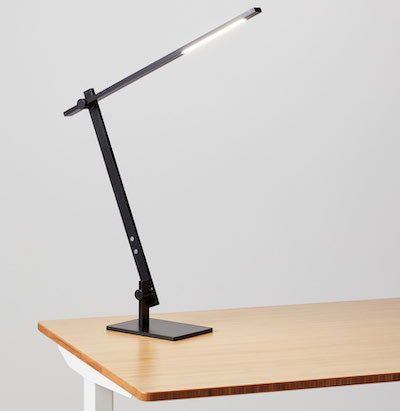 Beam LED desk lamp options with jarvis laminate standing desk