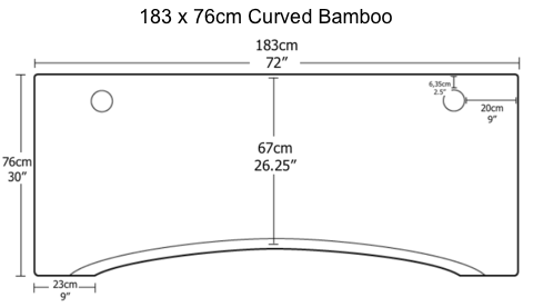 183 x 76cm curved bamboo top fully europe