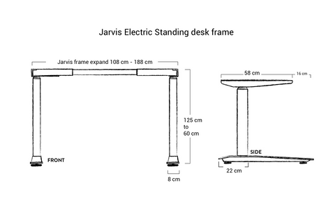 Dimensions of frame Jarvis electric standing desk