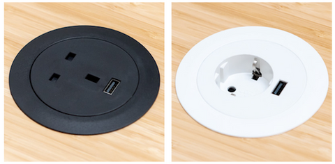 Power dots outlets for your desktop in black and white for all european countries