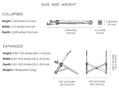 Metric specifications of the roost laptop stand fully europe