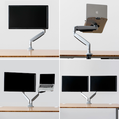 Different monitor arm options for your Jarvis desk.