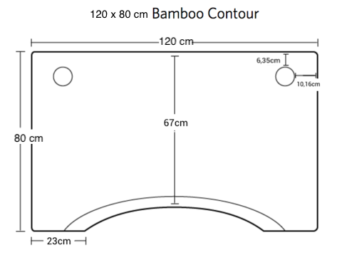 120 by 80 cm bamboo contour top