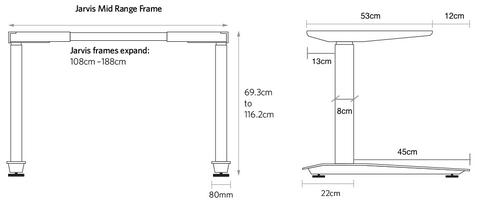 Metric Specs and dimensions Jarvis mid range Frame standing desk