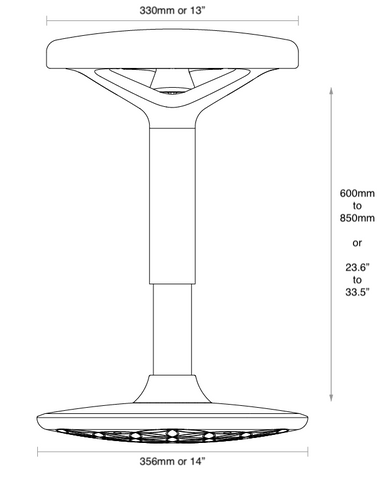 Metric dimensions of the luna standing desk stool