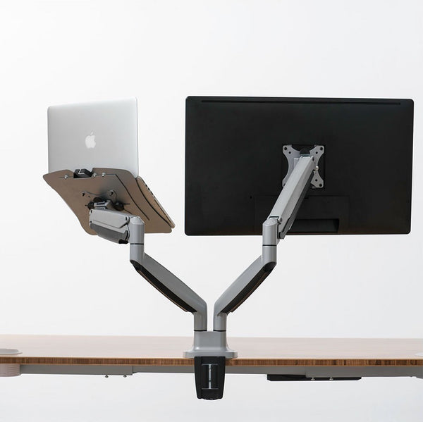 Monitor and lap top tray arm set up for your desk. Sleek design, well priced.