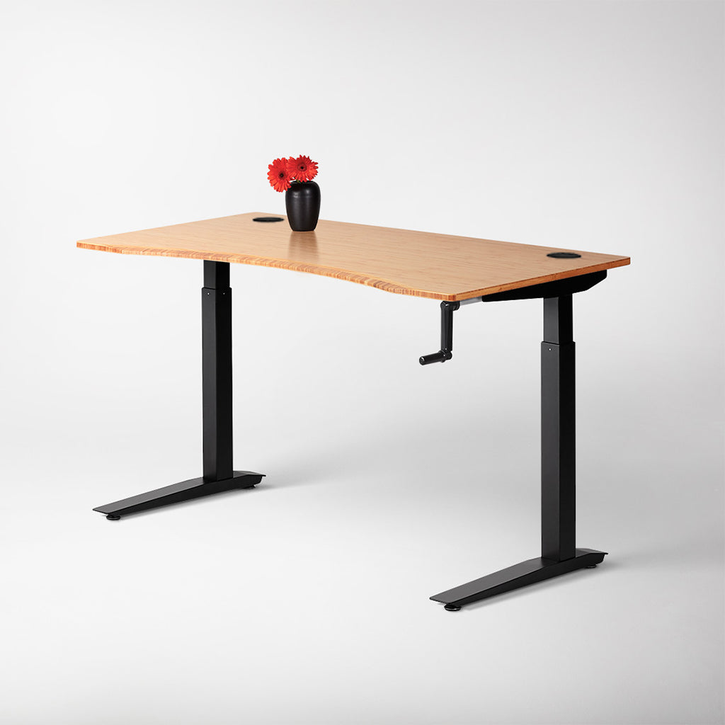 Height adjustable desk with crank and plants fully europe