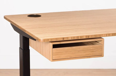 Bamboo desk drawer ships fully assembled to put away your clutter and laptop perfect match with bamboo desktop