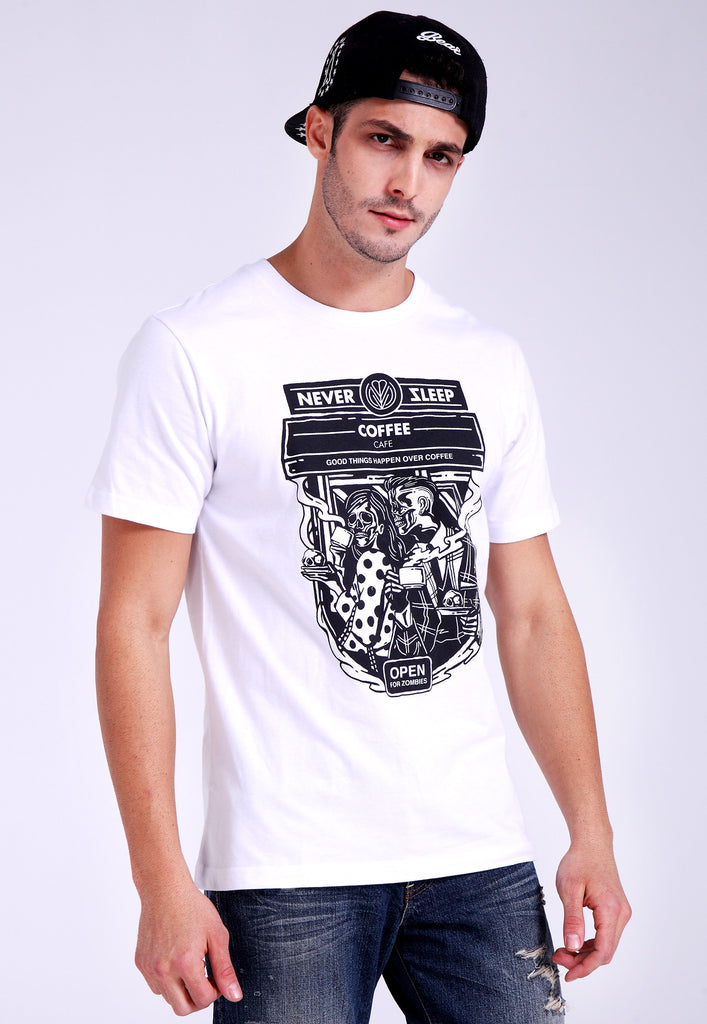 Never Sleep Cafe White Tee