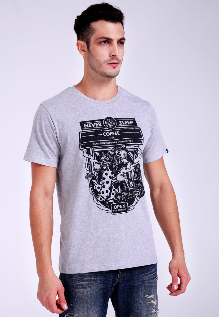 Never Sleep Cafe Grey Tee
