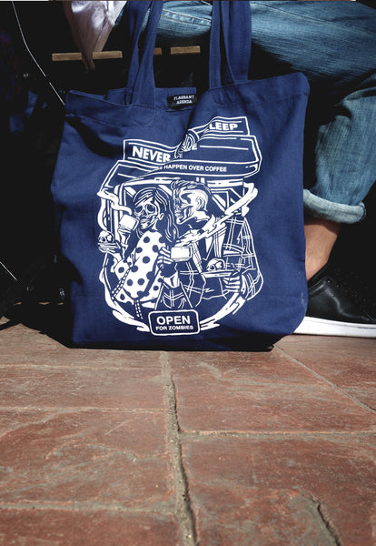Never Sleep Cafe Navy Bag