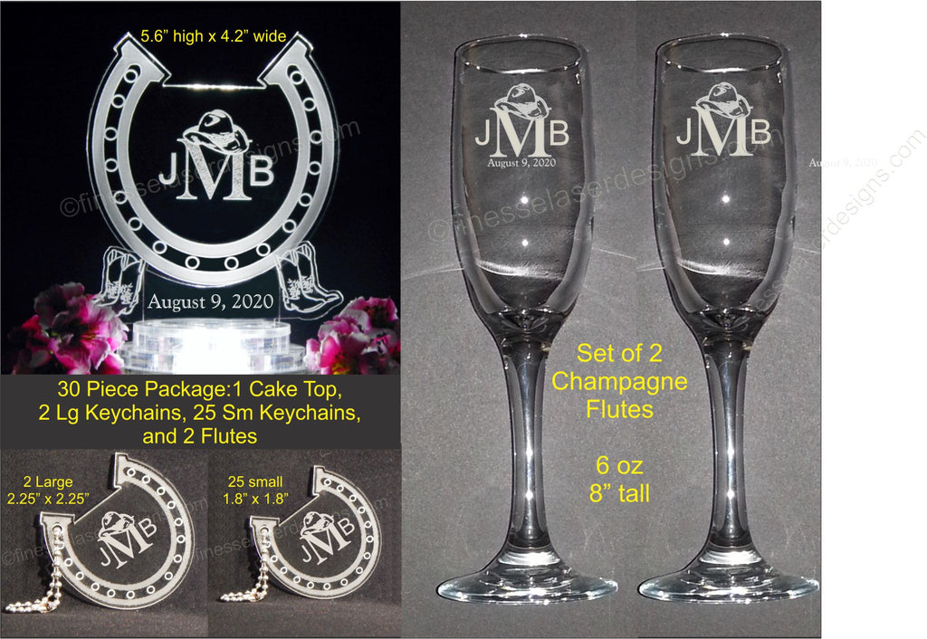 30 Pc Personalized Western Horseshoe Monogram Wedding Cake Top Package Finesselaserdesigns