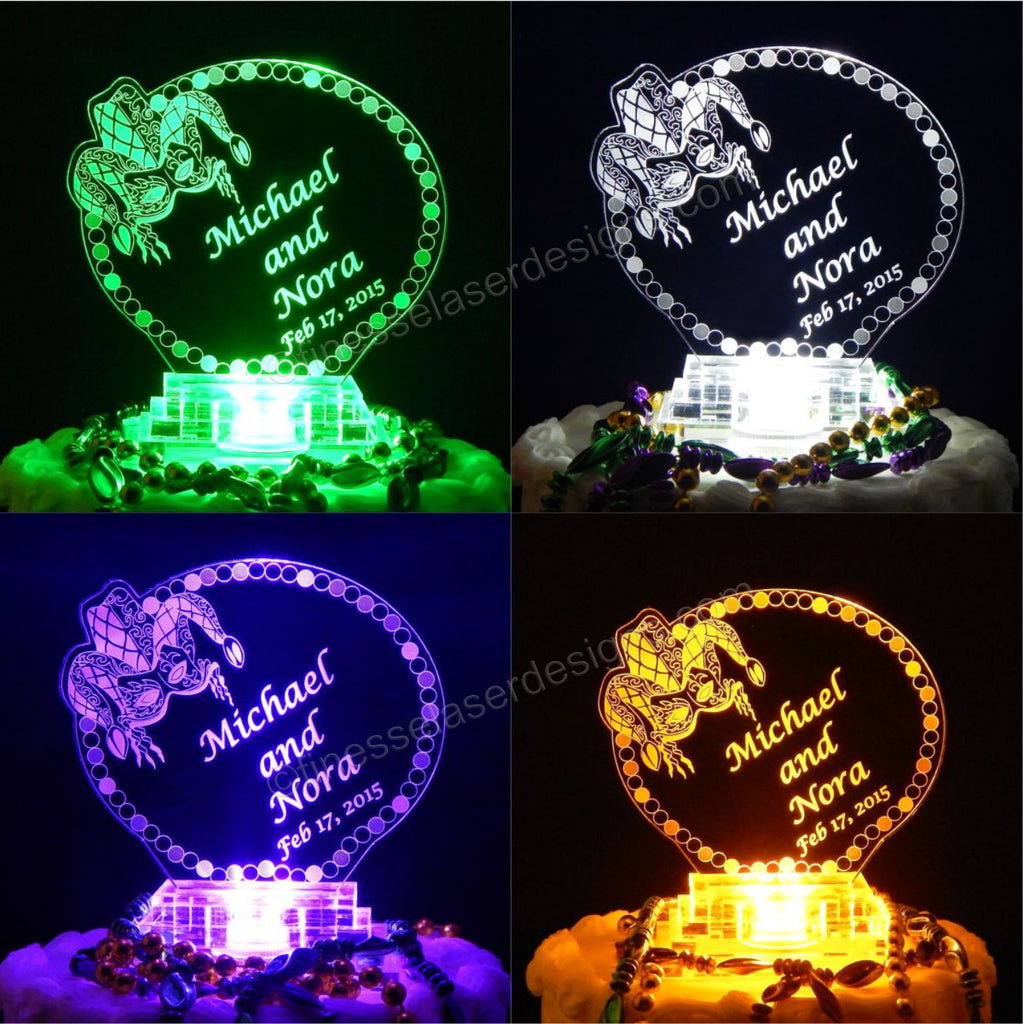 Personalized Lighted Mardi Gras Cake Topper Acrylic Cake Top Jester Laser  Engraved