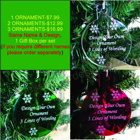 personalized design your own words christmas ornament round custom