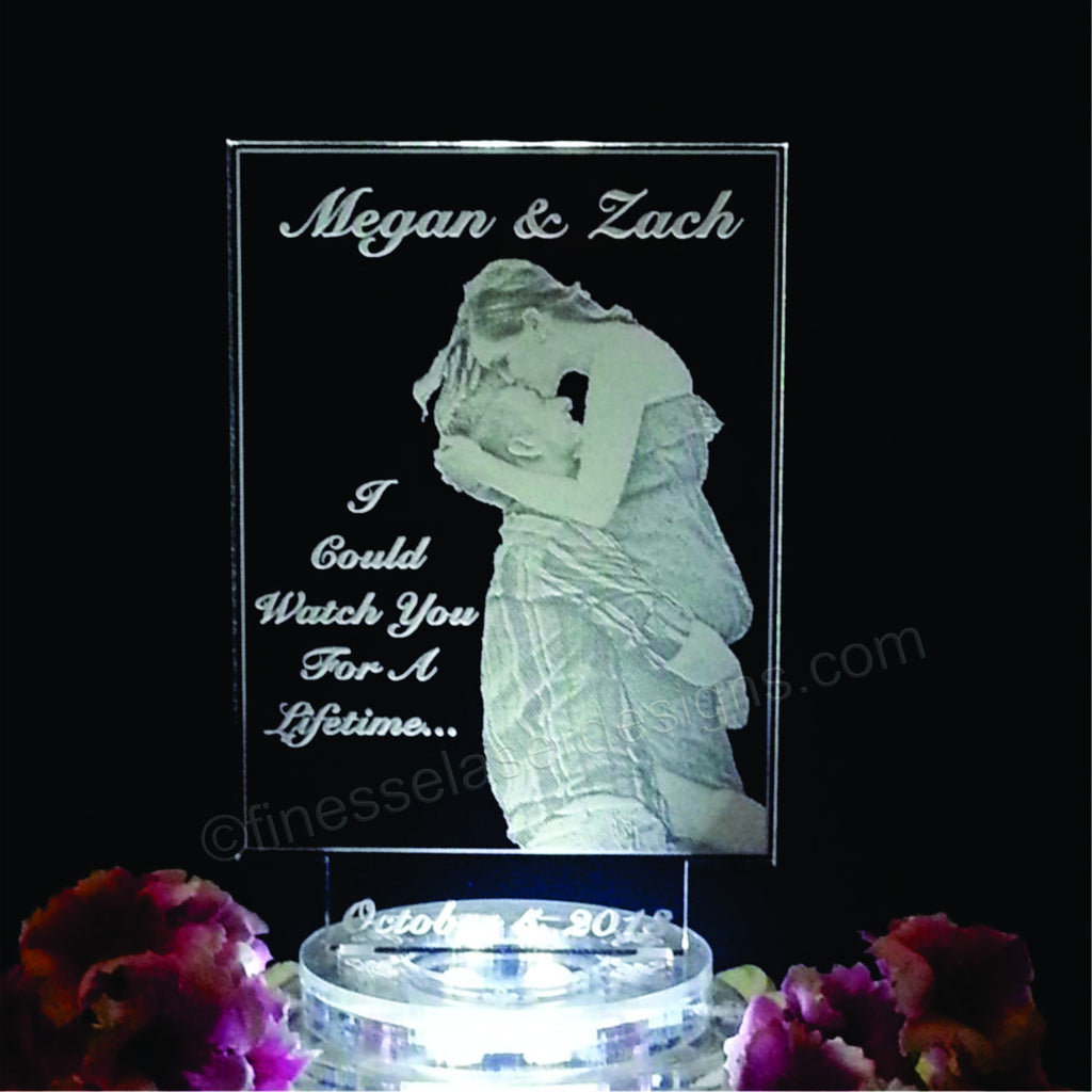 wedding cake toppers light up personalized photograph lighted wedding cake topper 26521