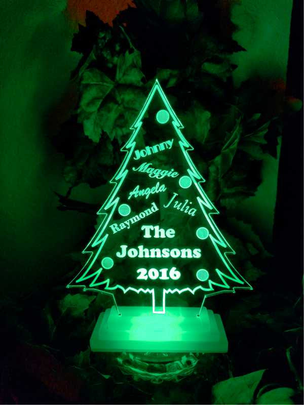Lighted Christmas Tree.Lighted Christmas Tree Centerpiece Decoration Acrylic Engraved Table Sign Great Gift