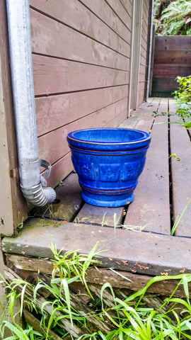 Blue Pot On A Deck
