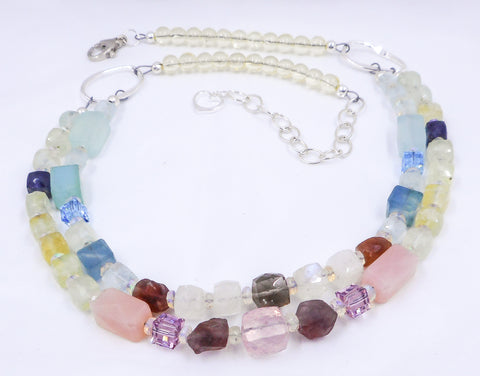 "gemstone cube necklace called ""Union"""
