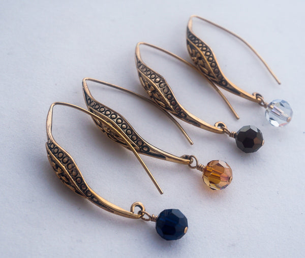 Bronze and Crystal earrings