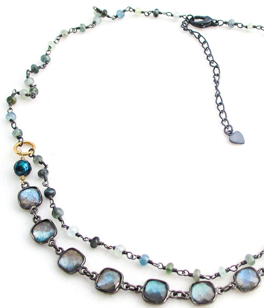 labradorite square moss aquamarine oxidized antiqued sterling silver necklace