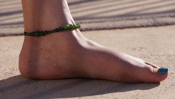 healing jade anklet on model