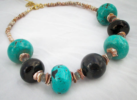 Turquoise and Black Amber Statement Necklace