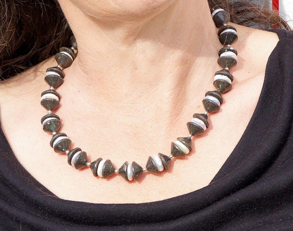 Einstein black paving stones handcrafted necklace with white pearls