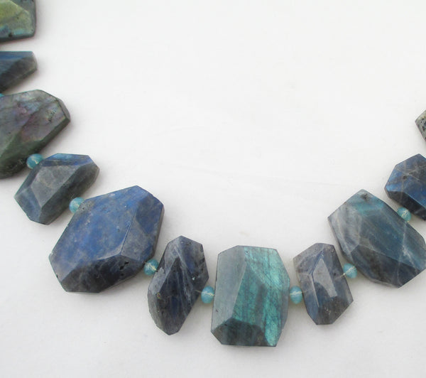 art to wear Labradorite chunk necklace with swarovski crystals