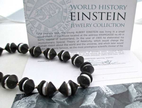 certificate of authenticity einstein paving stone and pearl necklace