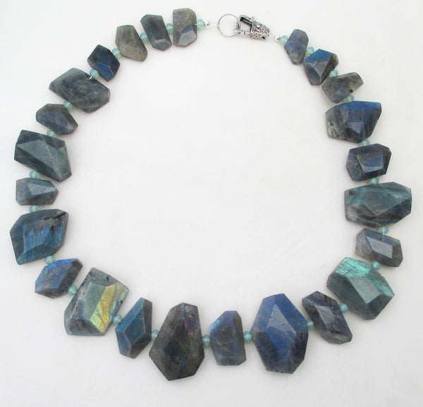 Labradorite chunk necklace with swarovski crystals