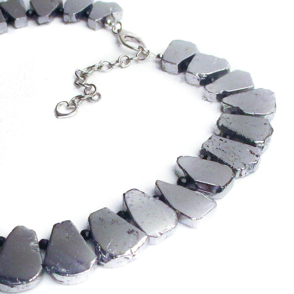 "dramatic ruffle shiny silver statement necklace 18"" inches titanium coated agate"