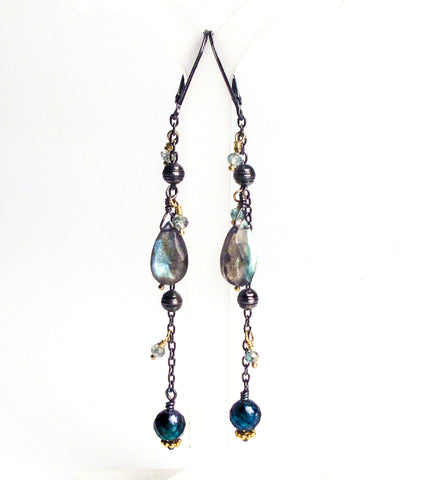 blue zircon labradorite teal pearl oxidized antiqued sterling silver earrings