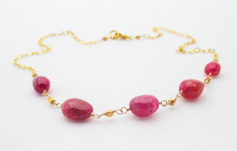 Pink Spinel and 22k Gold Vermeil Necklace