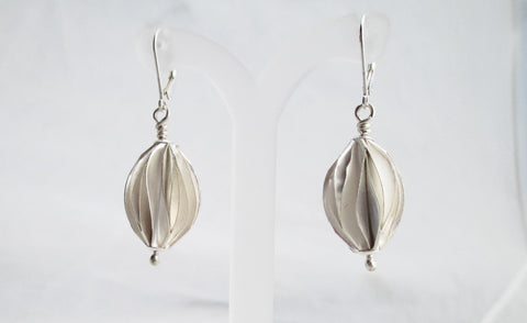 Pleated Fine Silver Earrings