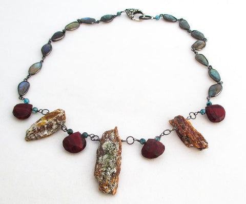 Orange Kyanite crystals, Red Jasper, Labradorite, blue Kyanite, Sterling Silver, Necklace