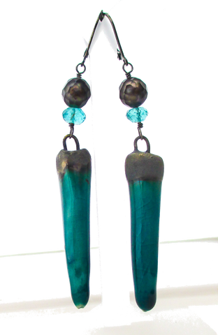 Aqua ceramic stonewear spike earrings oxidized sterling silver earrings faceted grey pearl apatite