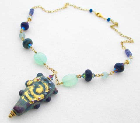 Rebirth Lampwork necklace, chalcedony, blue topaz, tanzanite, apatite, 18k goldfill