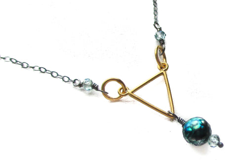 22k gold vermeil triangle necklace oxidized antiqued sterling silver chain blue zircon