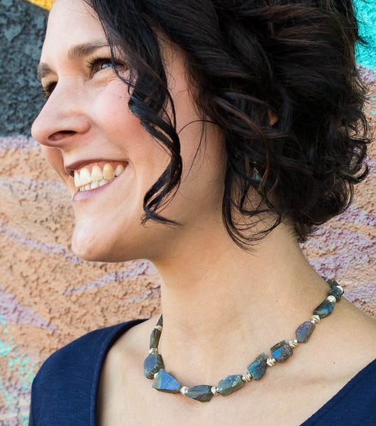 raw labradorite handcrafted necklace art to wear