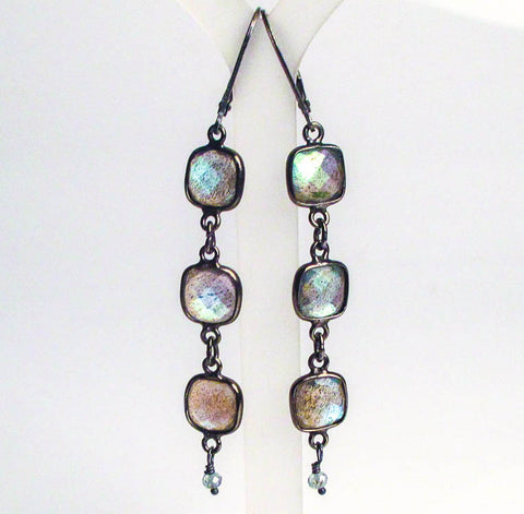 labradorite square oxidized antiqued sterling silver earrings