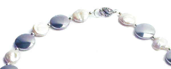 white coin pearl statement necklace silver disc fancy clasp