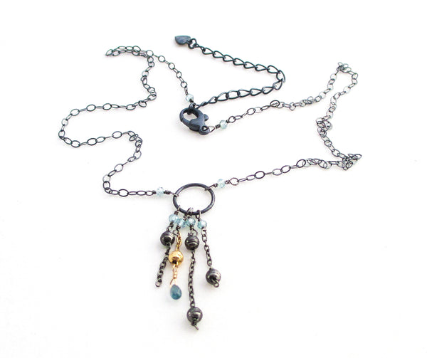 blue zircon sapphire oxidized antiqued sterling silver necklace