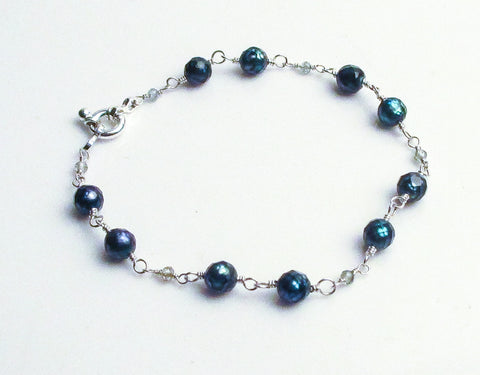 teal blue faceted pearl blue zircon sterling silver bracelet
