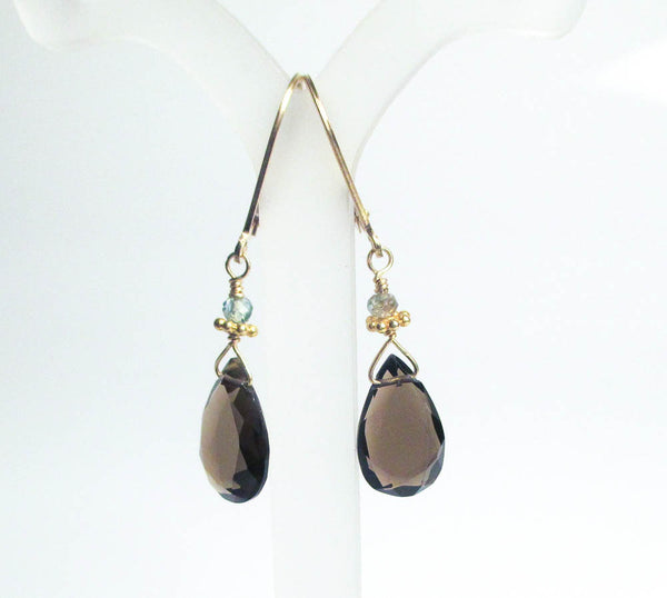 smoky quartz and blue zircon with 22k gold vermeil accents handcrafted lightweight earrings