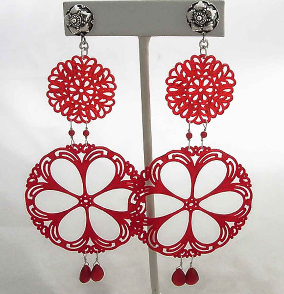 Vintage Lucite Filigree Earrings