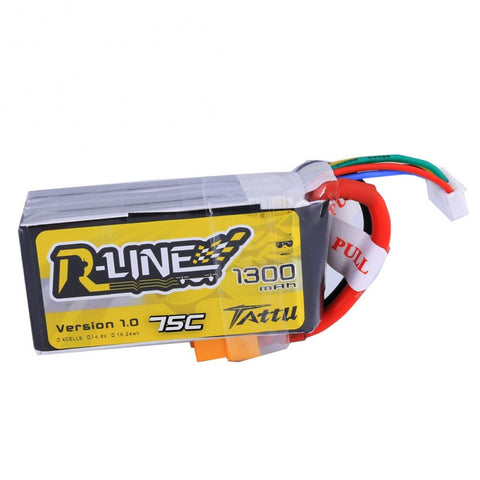 Tattu R-Line 1300mAh 75C 4S1P lipo battery pack