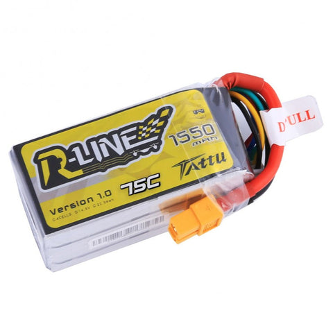 Tattu R-Line 1550mAh 75C 4S1P lipo battery pack
