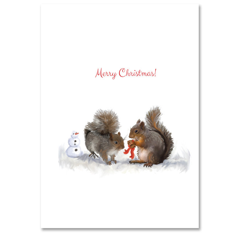 012HOL Squirrels & Gift Christmas Card - 6 single cards - WHOLESALE ...