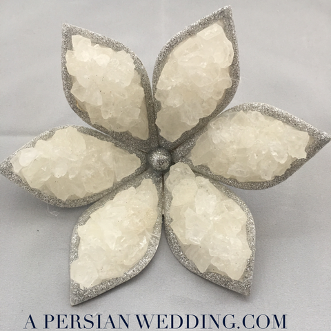 Silver Rock Candy ( Nabat) Flower for Sofreh Aghd Persian Wedding:  Handmade + Digital Guides
